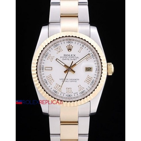 Rolex replica datejust acciaio oro white roman oyster orologio replica copia