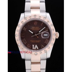 Rolex replica datejust pearlmaster oyster acciaio oro brown orologio replica copia