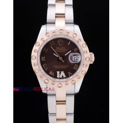Rolex replica datejust pearlmaster lady oyster acciaio oro brown orologio replica copia