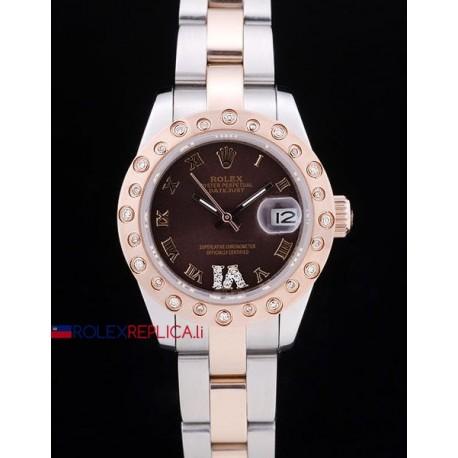 Rolex replica datejust pearlmaster lady oyster acciaio oro brown orologio replica copia