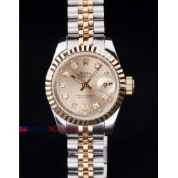 Rolex replica datejust lady acciaio oro gold brillantini orologio replica copia