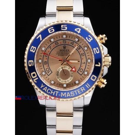 Rolex replica yacht master II regatta ceramichon acciaio oro gold dial orologio replica copia