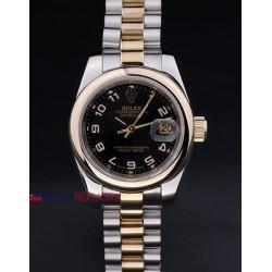 Rolex replica datejust lady acciaio oro black arab orologio replica copia