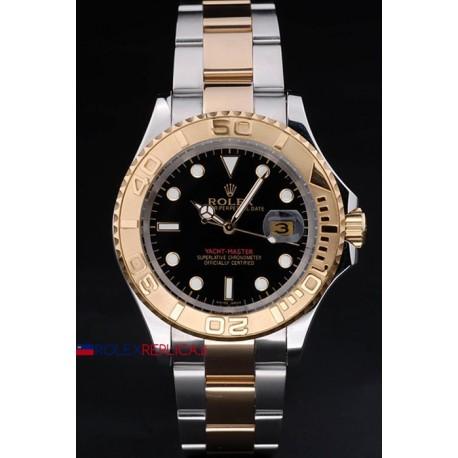 Rolex replica yacht master I acciaio oro black dial classic orologio replica copia