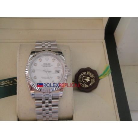 Rolex replica datejust acciaio argentèè brillantini orologio replica copia