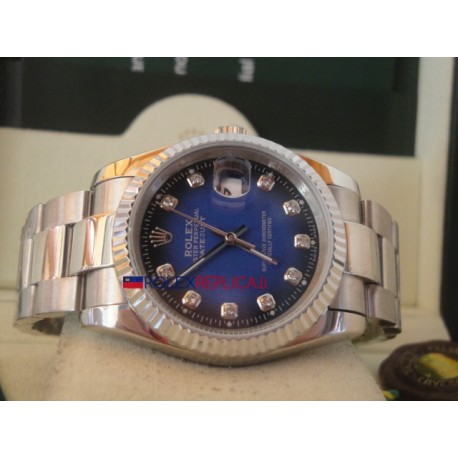 Rolex replica datejust d-blue brillantini oyster orologio replica copia