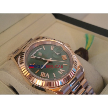 Rolex replica daydate new basilea rose gold green dial orologio replica copia