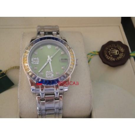 Rolex replica datejust pearlmaster lady acciaio blue yellow bezel orologio replica copia
