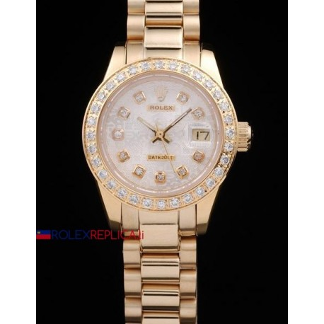Rolex replica datejust lady full oro brillantini bezel orologio replica copia