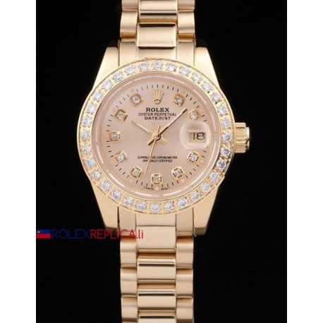 Rolex replica datejust lady full oro brillantini bezel gold dial orologio replica copia