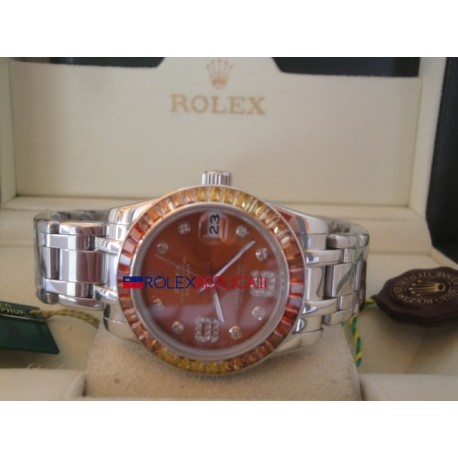 Rolex replica datejust pearlmaster lady acciaio orange yellow bezel orologio replica copia