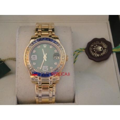 Rolex replica datejust pearlmaster lady oyster oro giallo green dial orologio replica copia