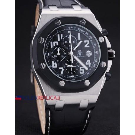 Audemars Piguet replica royal oak offshore chrono black dial strip leather orologio replica copia