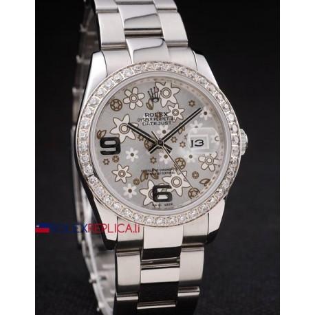 Rolex replica datejust flower argentèè orologio replica copia