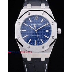 Audemars Piguet replica royal oak jumbo blu dial strip leather orologio replica copia