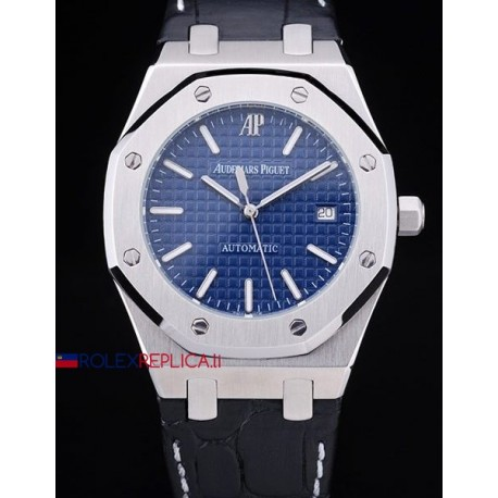 Audemars Piguet replica royal oak jumbo blu dial strip leather orologio replica copia