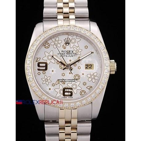 Rolex replica datejust acciaio oro flower argentèè orologio replica copia