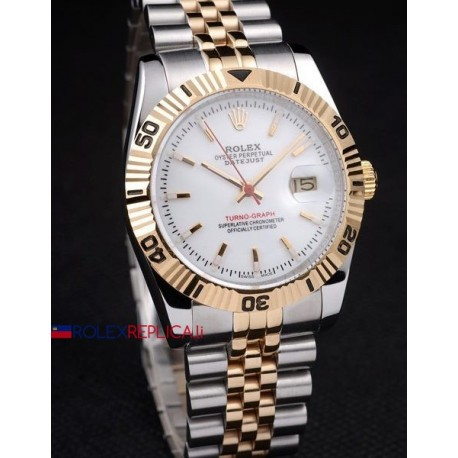 Rolex replica turn-o-graph acciaio oro white dial orologio replica copia