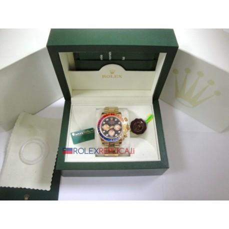 Rolex replica daytona oro giallo rainbow rubini bezel orologio replica copia