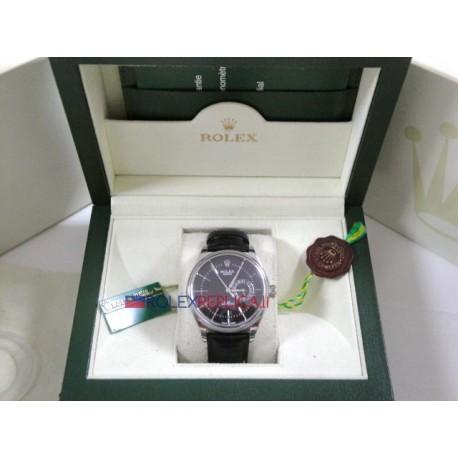 Rolex replica cellini dual time strip leather black dial orologio replica copia