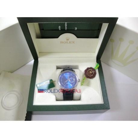 Rolex replica cellini dual time strip leather blue dial orologio replica copia