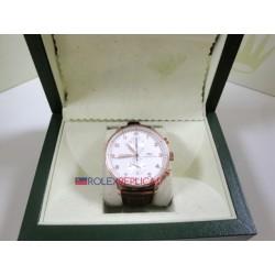 IWC replica portoghese rose gold strip leather white dial imitazione replica orologio