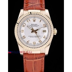 Rolex replica datejust oro white dial strip leather orologio replica copia