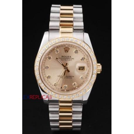 Rolex replica datejust acciaio oro brillantini bezel orologio replica copia