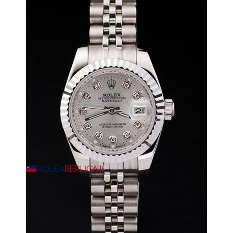 Rolex replica datejust lady argentèè brillantini orologio replica copia