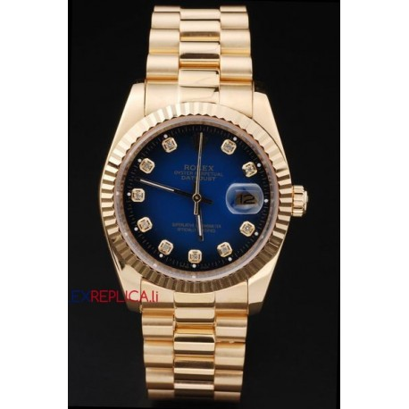 Rolex replica datejust oro blu brillantini orologio replica copia