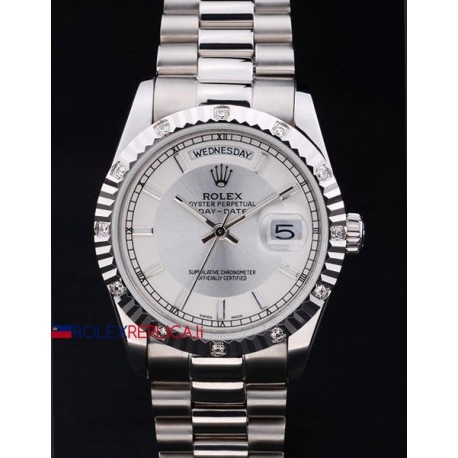 Rolex replica daydate pearlmaster acciaio argentèè dial orologio replica copia
