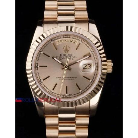Rolex replica daydate full rose gold barrette orologio replica copia