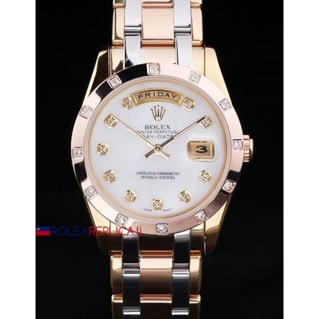 Rolex replica daydate pearlmaster acciaio rose gold white dial orologio replica copia