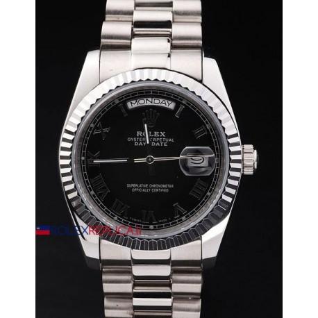 Rolex replica daydate acciaio black roman orologio replica copia