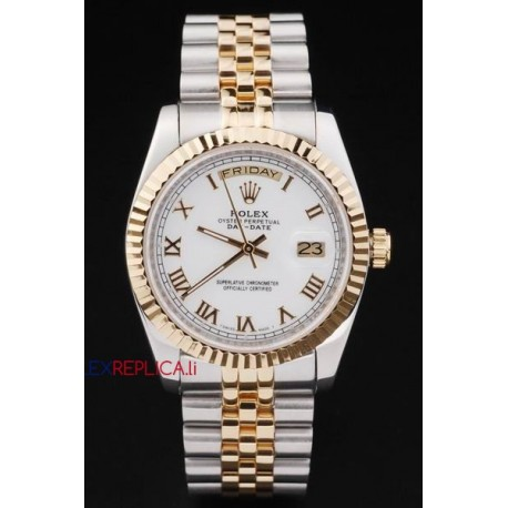 Rolex replica daydate acciaio oro white roman orologio replica copia