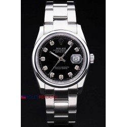 Rolex replica datejust black brillantini ghiera liscia orologio replica copia