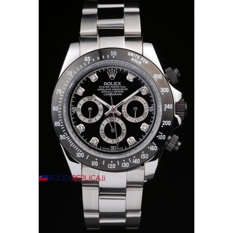 Rolex replica daytona acciaio ceramichon brillantini black orologio replica copia