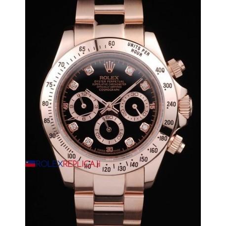 Rolex replica daytona rose gold brillantini black dial orologio replica copia