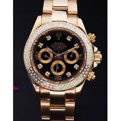 Rolex replica daytona oro giallo brillantini bezel black dial orologio replica copia
