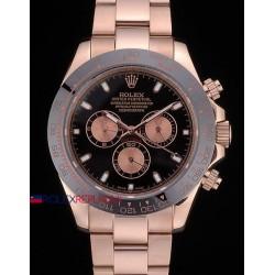 Rolex replica daytona ceramichon rose gold black dial orologio replica copia
