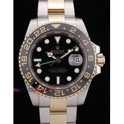 Rolex replica GMT master II ceramica acciaio oro black dial orologio replica copia