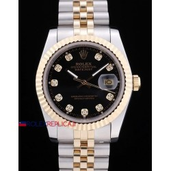 Rolex replica datejust acciaio oro black brillantini orologio replica copia