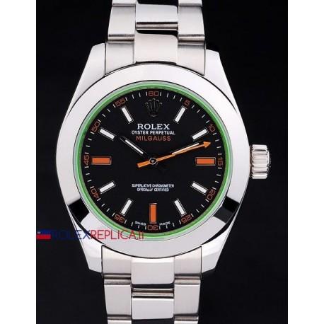 Rolex replica milgauss classic black dial vetro verde orologio replica copia
